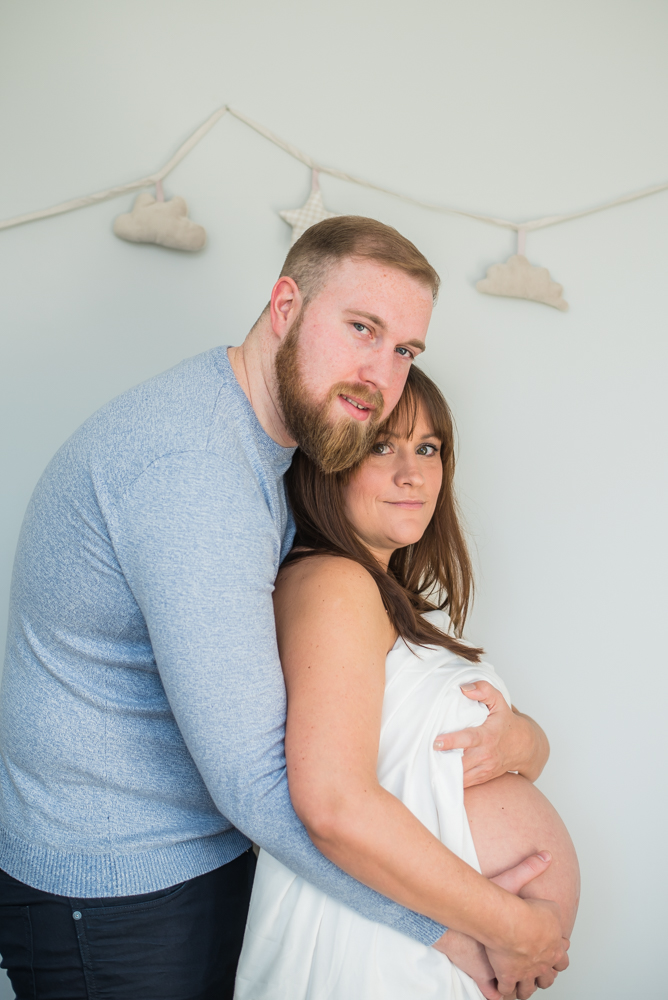 Bump out with partner, maternity portraits Carlisle
