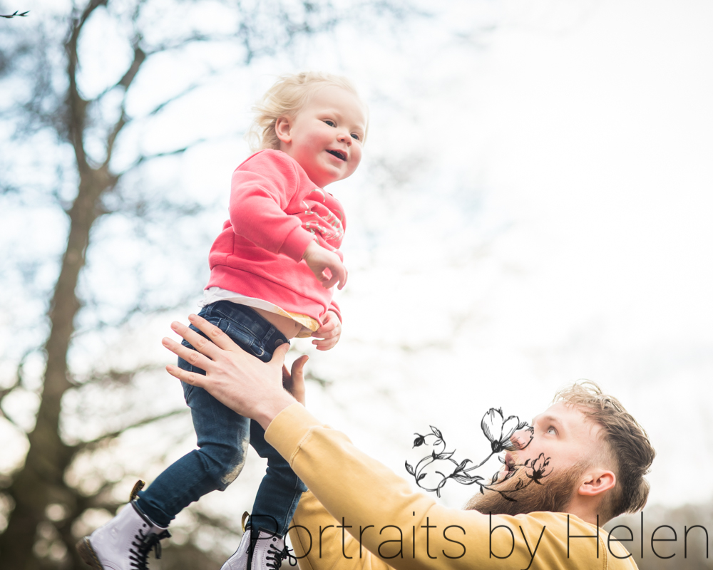 Dad throwing Darcy in air, Wigton baby photographer
