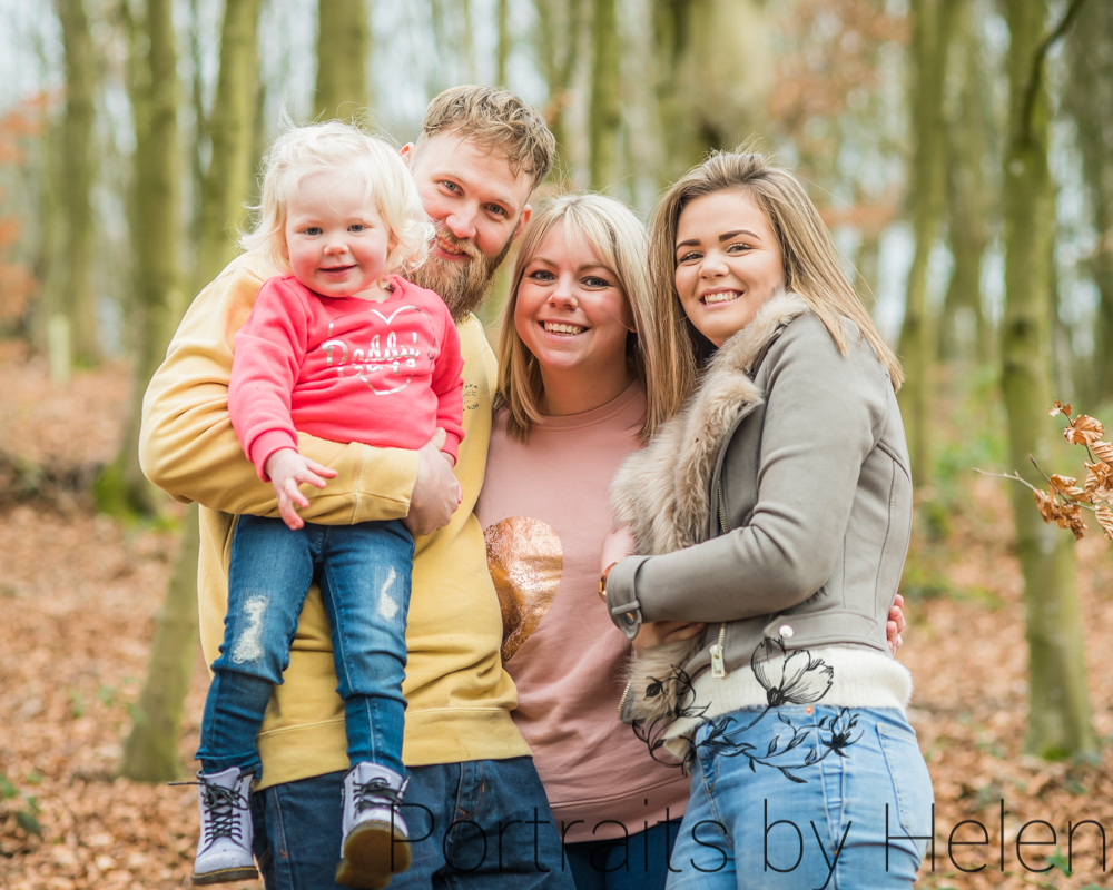 Family photograph in the woods, Carlisle baby photographers