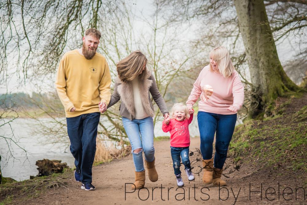 Family running! baby photographers Cockermouth