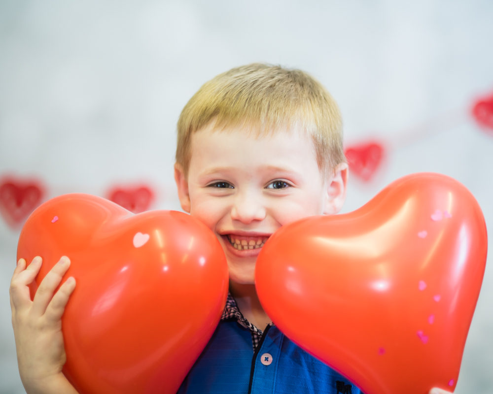 Heart balloons, newborn photographer Carlisle
