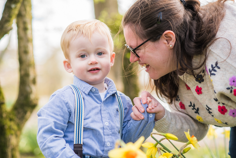 Mum & Luke in daffodils, Carlisle baby photographer