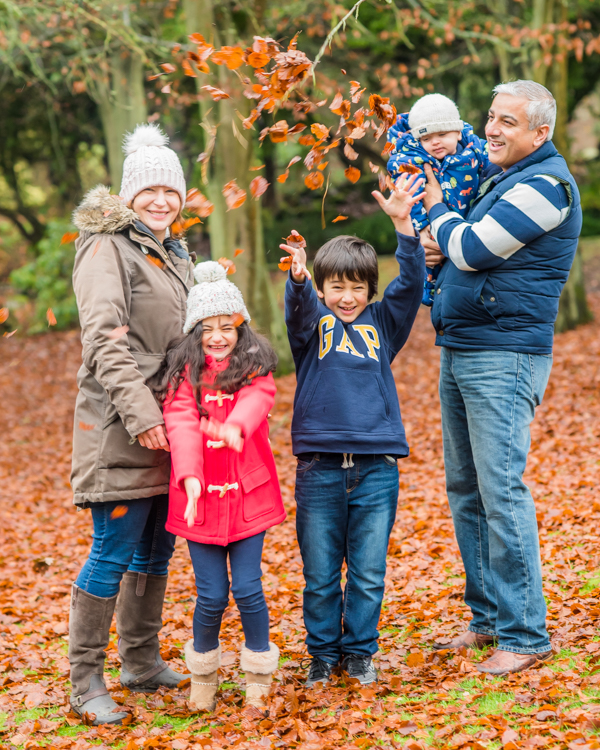 Leaf throwing, family photographs Lake District