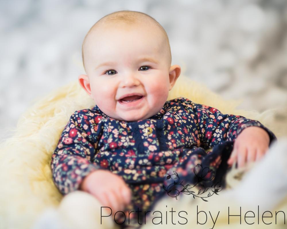 Camera smiles, baby portraits Cumbria