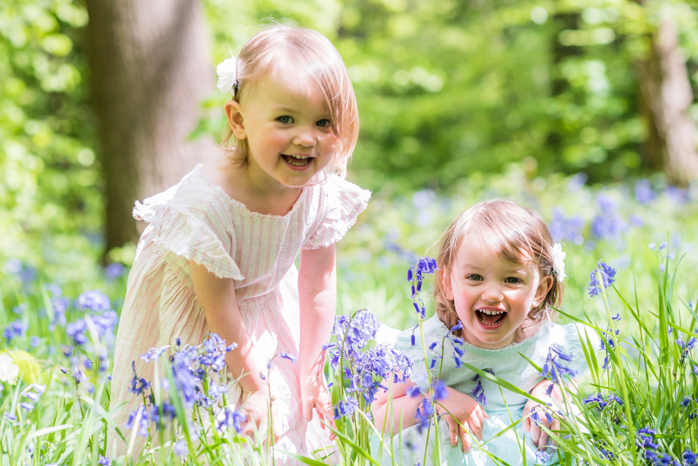 Hiding in the bluebells, Sheffield baby photographer