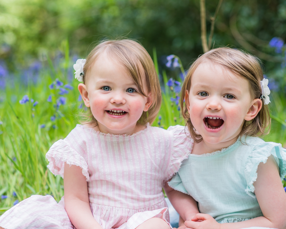Laughing kids, bluebell photos