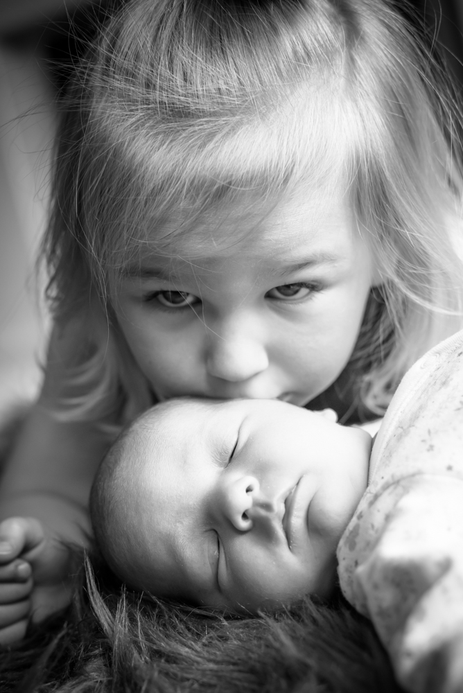Georgie and big sister Amelia on newborn photo shoot, Carlisle