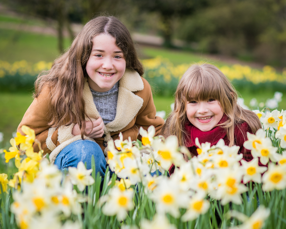 Connie and Gina in daffodils, Sheffield family portraits