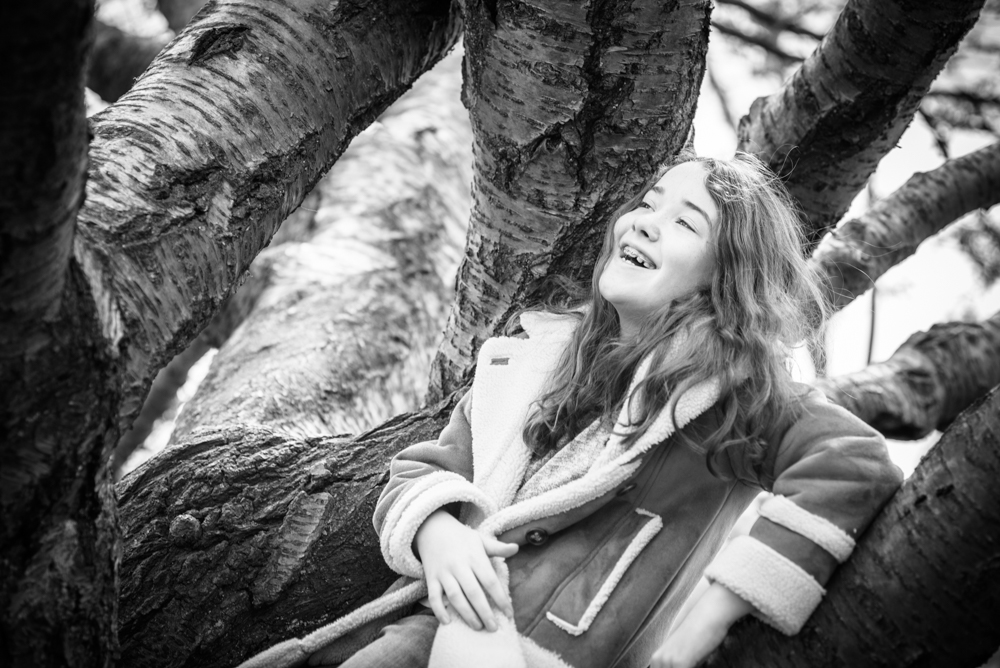 Posing in tree, kids photography Cumbria
