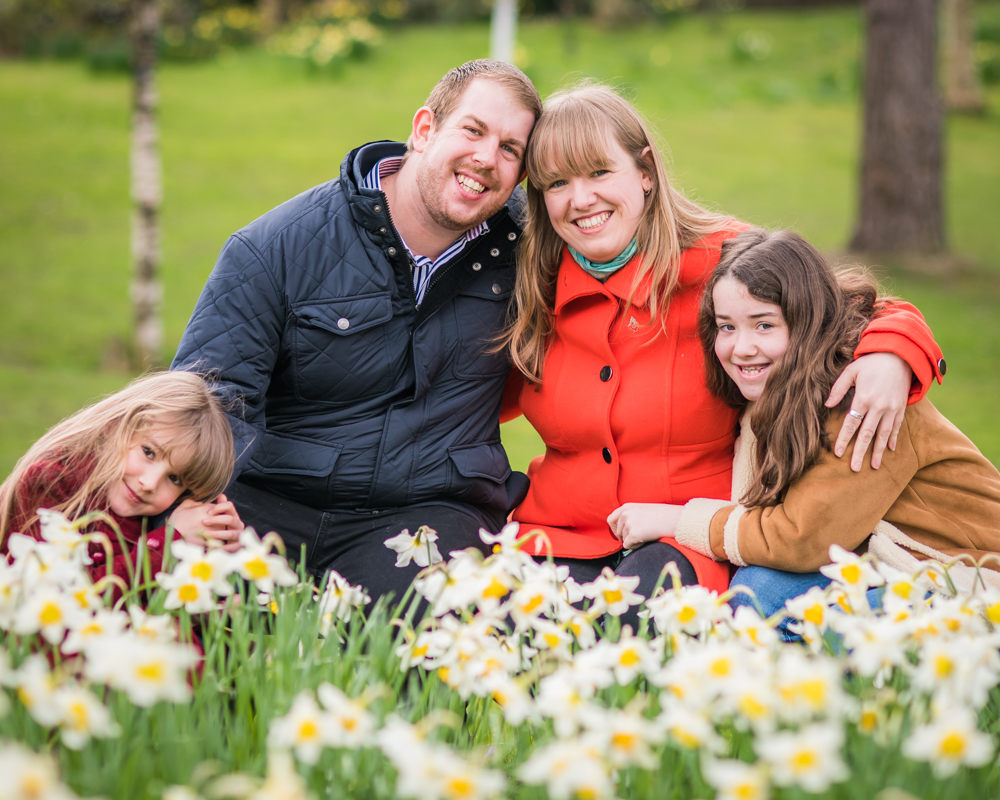 Family in daffodils, Lake District family portraits