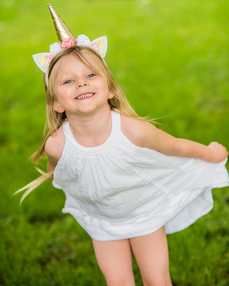 Katie in unicorn headband, Carlisle baby photographers
