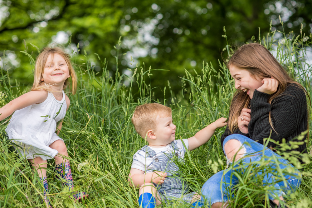 Freddie tickling his big sister, Bitts Park family photographs