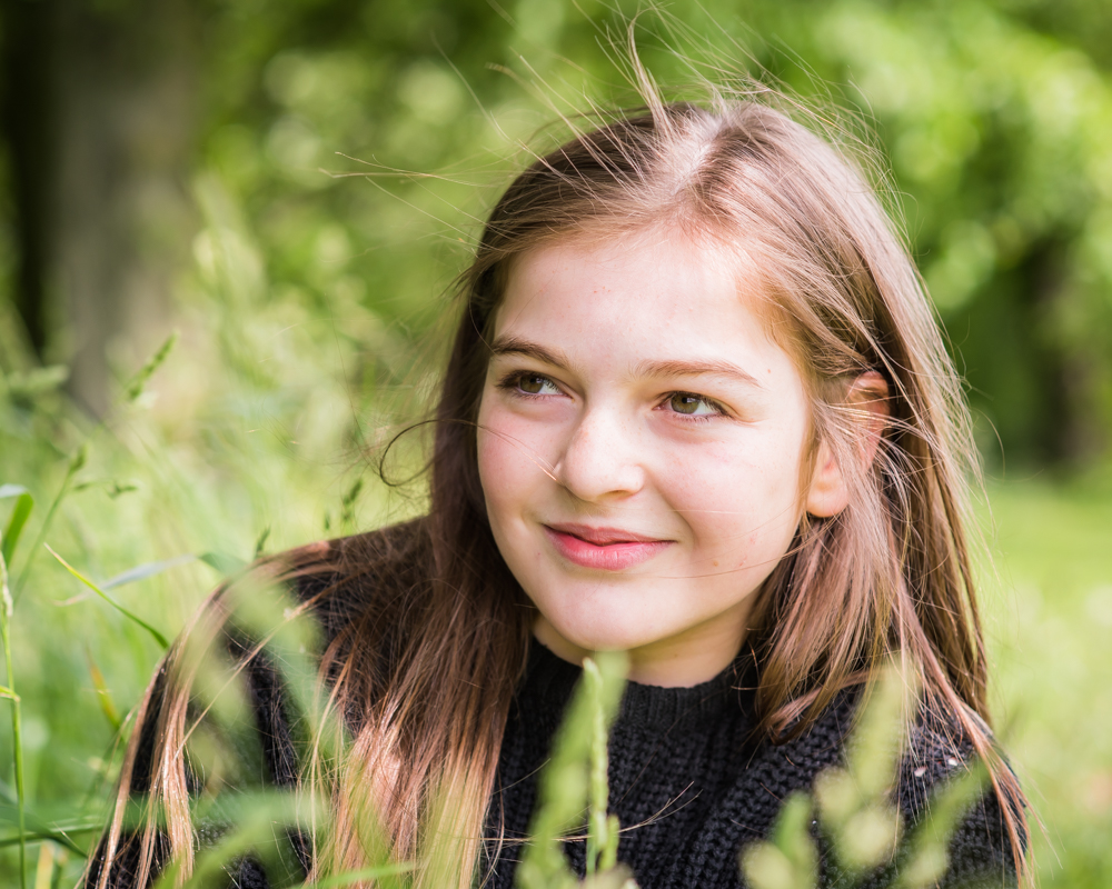 Abbie in long grass, Carlisle family photographers