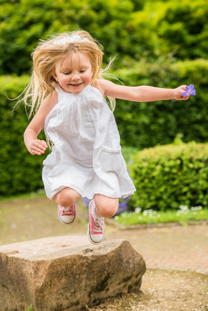 Katie jumping, Carlisle family portraits in Bitts Park