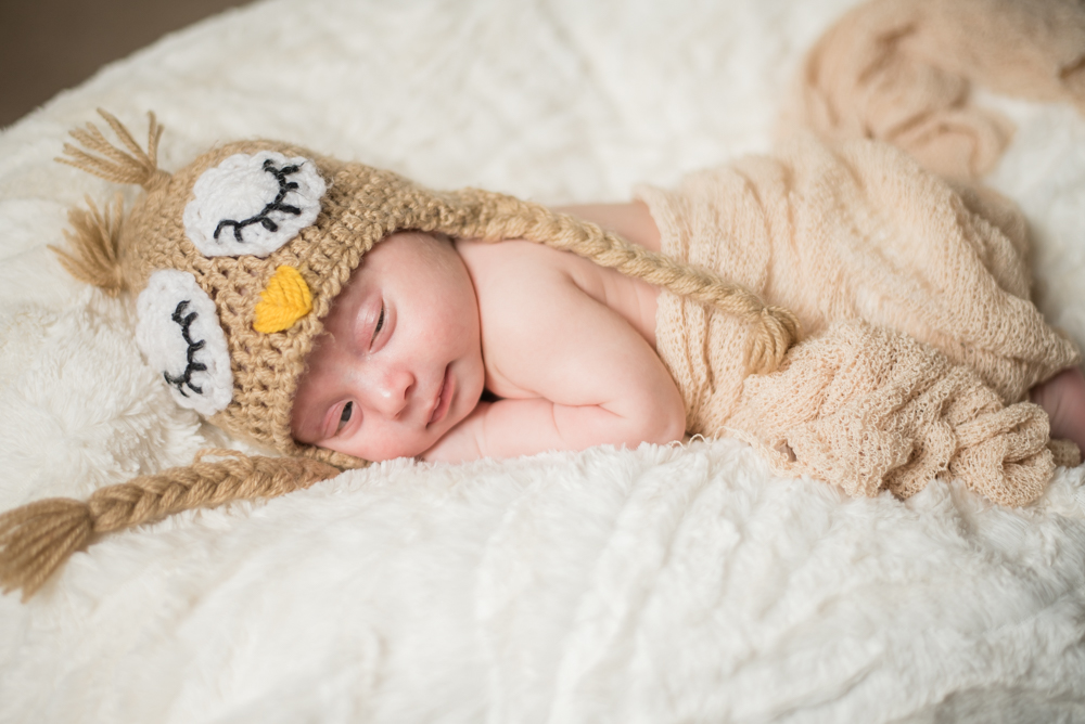 Chester in owl hat - newborn photographer Cockermouth