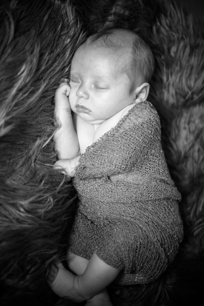 Wrapped up baby in black and white, Carlisle photographers