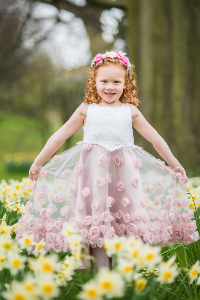 Esme in her princess dress in daffodils, Sheffield baby photographers