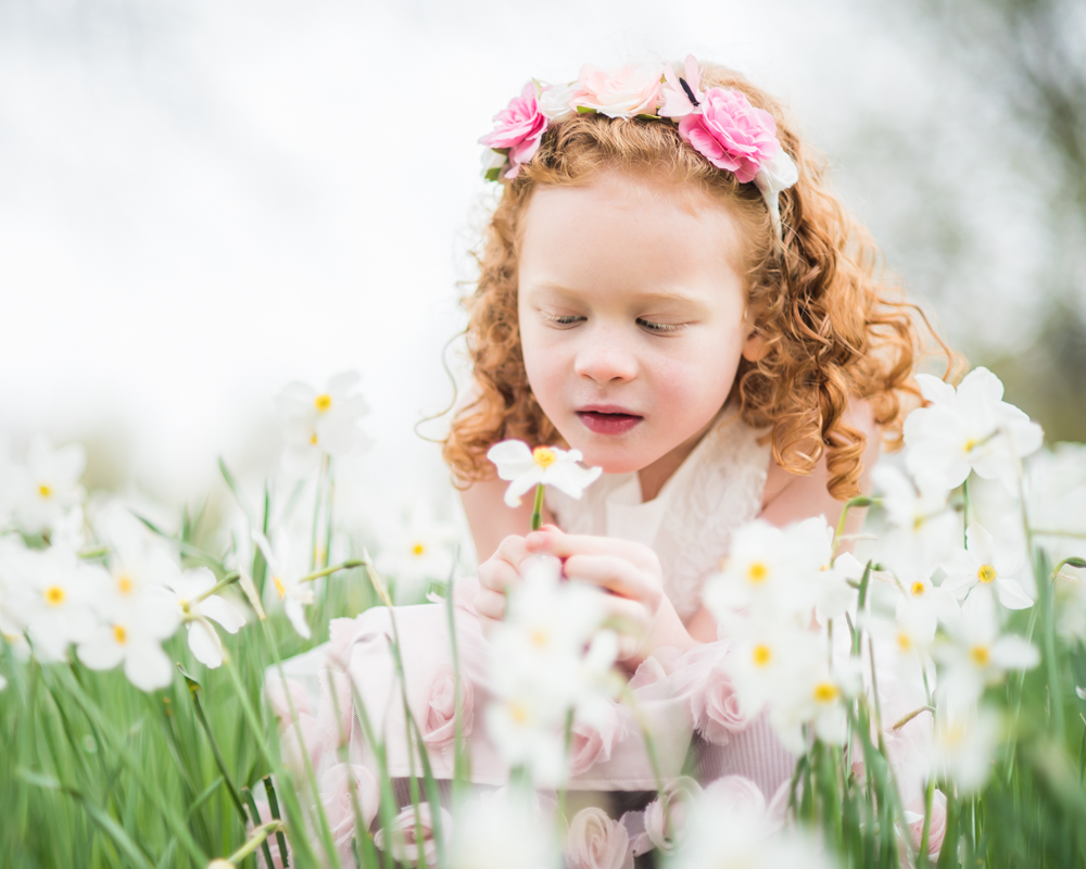 Esme sniffing a daffodil, Keswick baby photographers