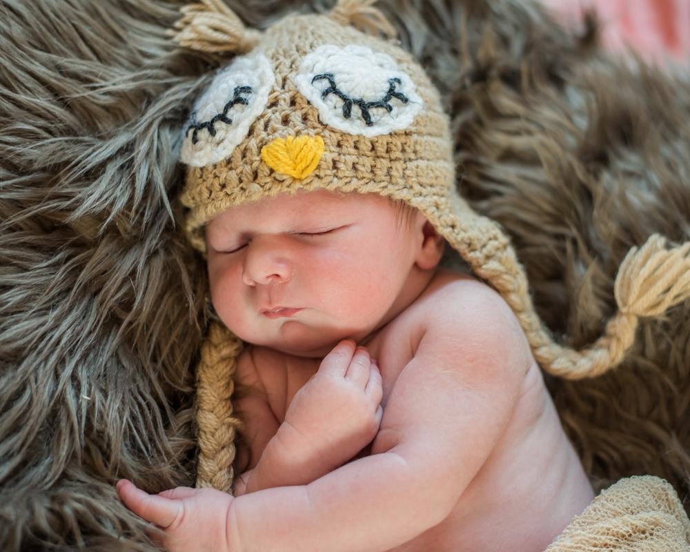 Austin in owl hat, newborn photographers Cumbria