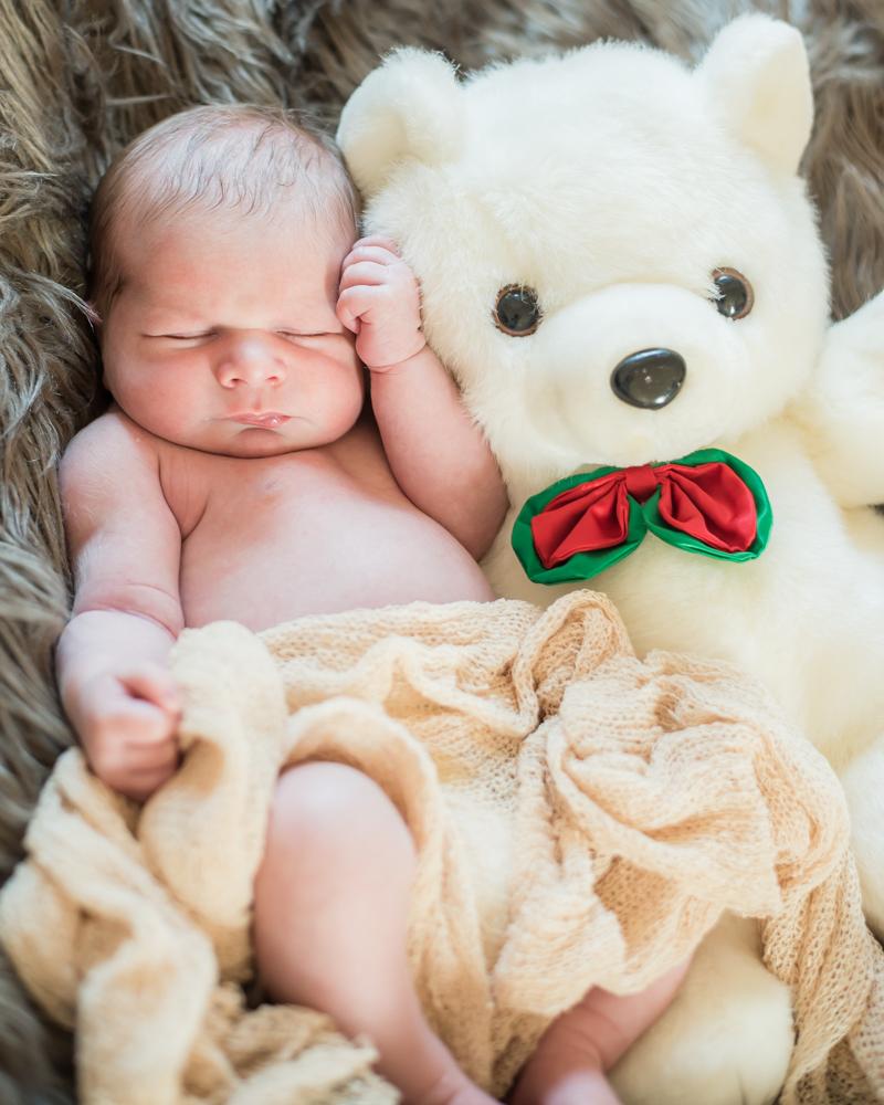 Austin and big teddy cuddling, baby photographers Carlisle