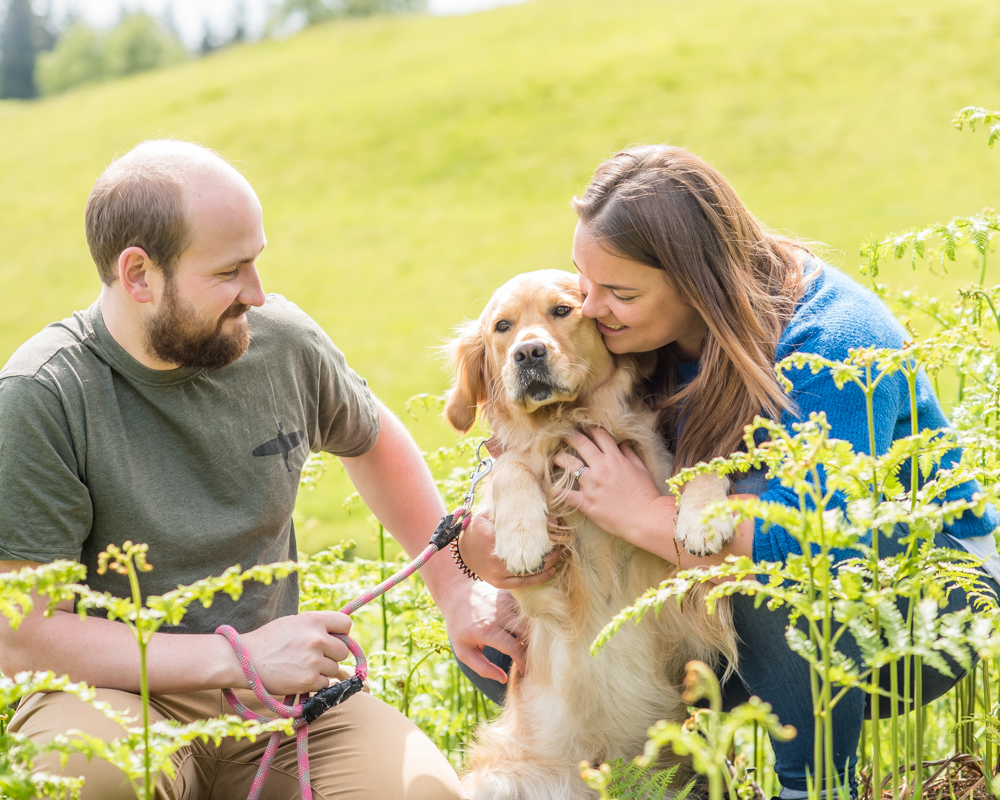 Family cuddles with dog, Tarn Hows portraits