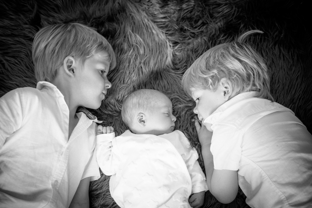 Brothers with baby, newborn photographer