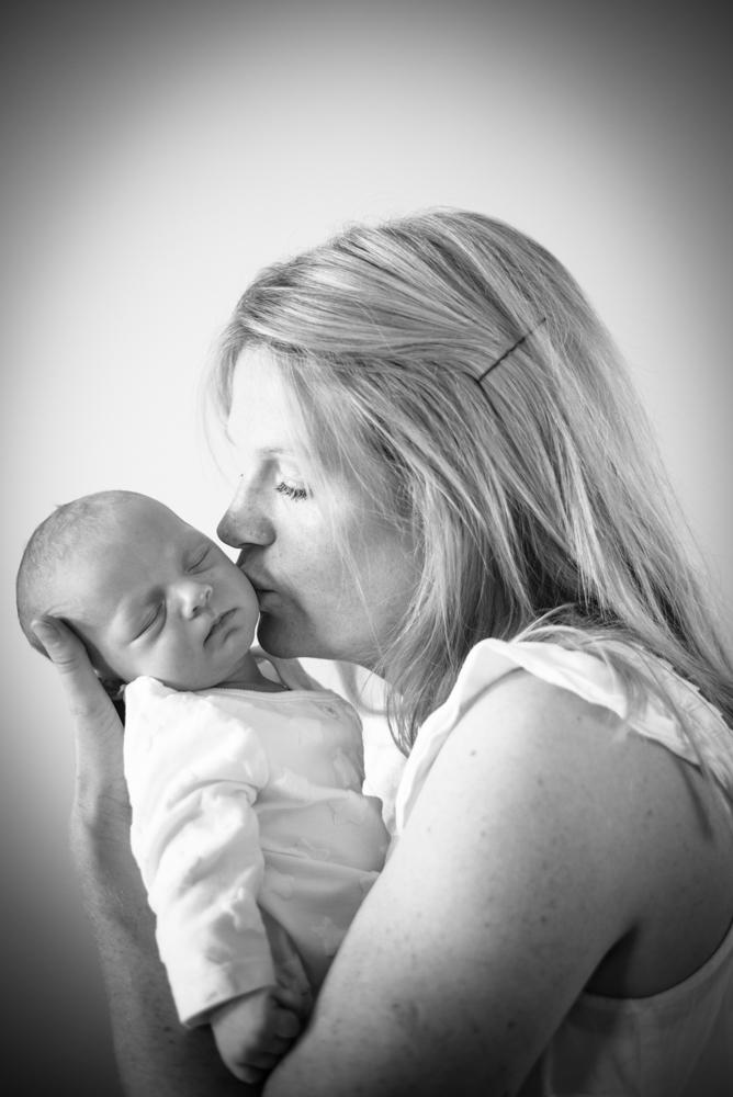 Kisses from Mum, natural newborn photography