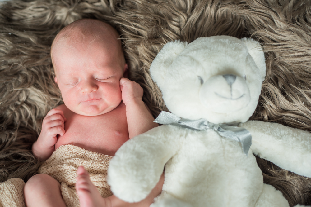 Baby Rory and his teddy, newborn photographer Cumbria