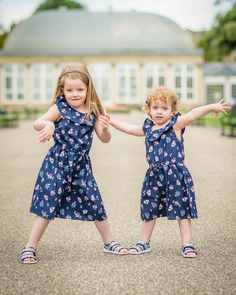Sisters dancing, Sheffield Botanical Gardens photo shoot