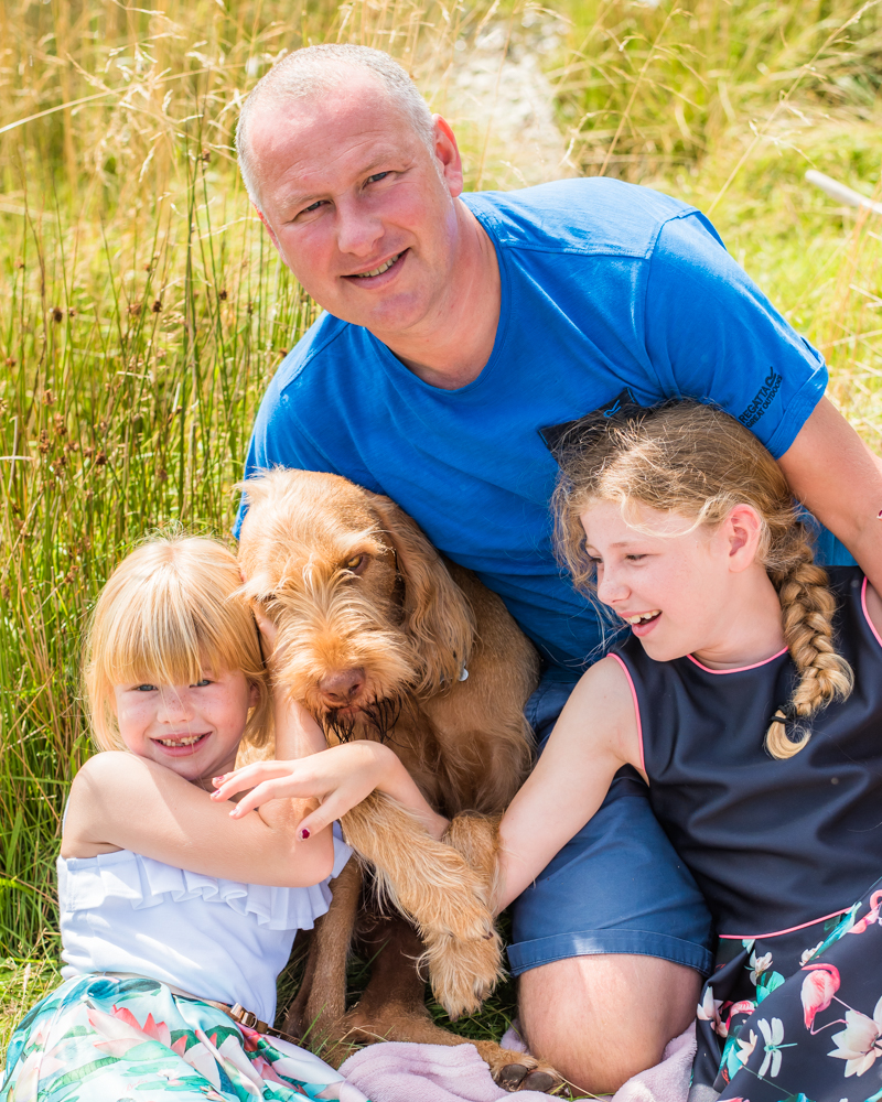 Girls with their Dad and Wally the dog, baby photographer Workington