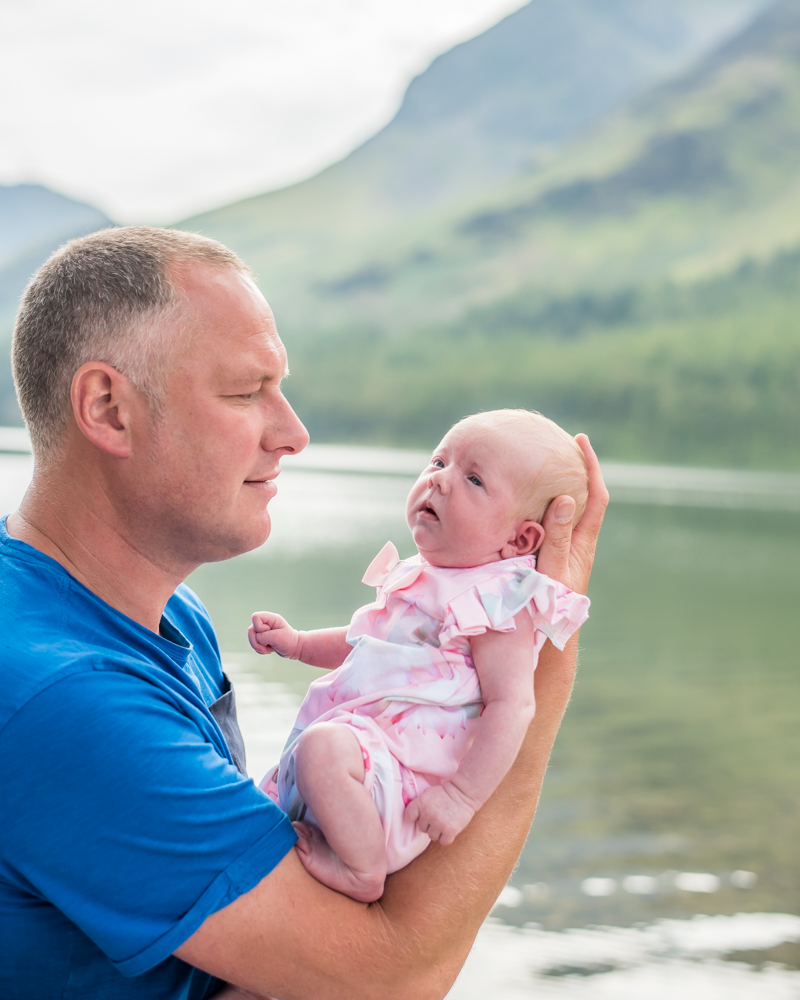 Dad holding baby Beatrix, baby portraits Wigton