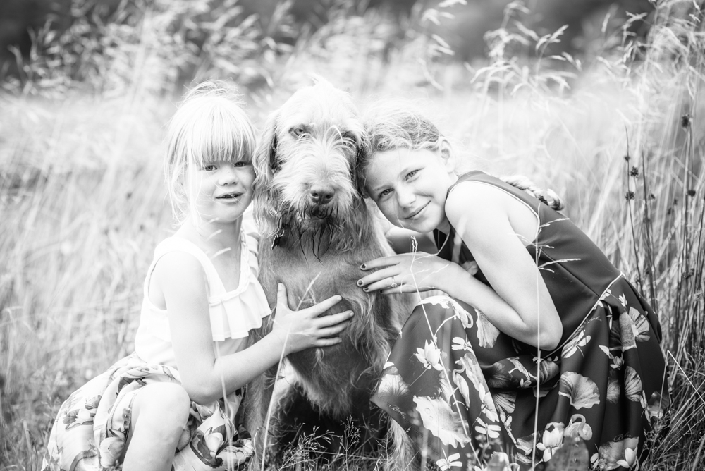 Girls and Wally the dog, family photographers Carlisle
