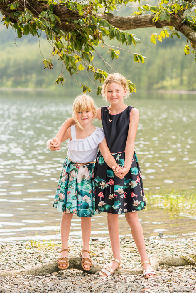 Sisters cuddling by the Lake, Buttermere family photographer