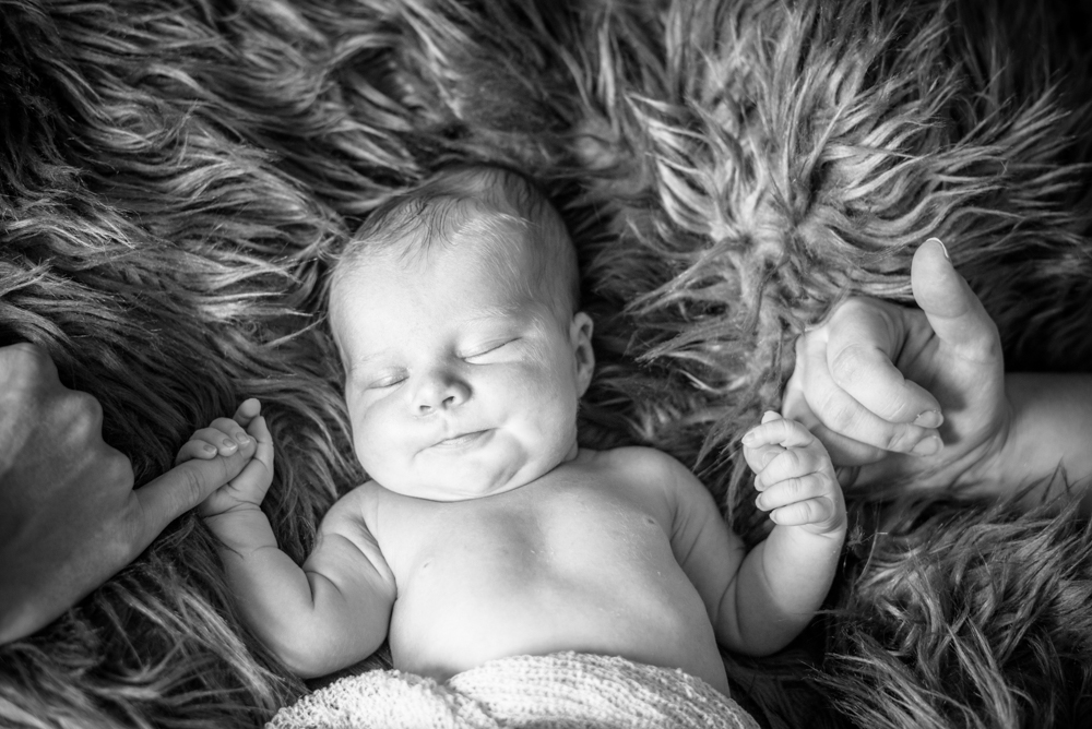 Baby holding onto Mum and Dad's hands, newborn portraits Wigton