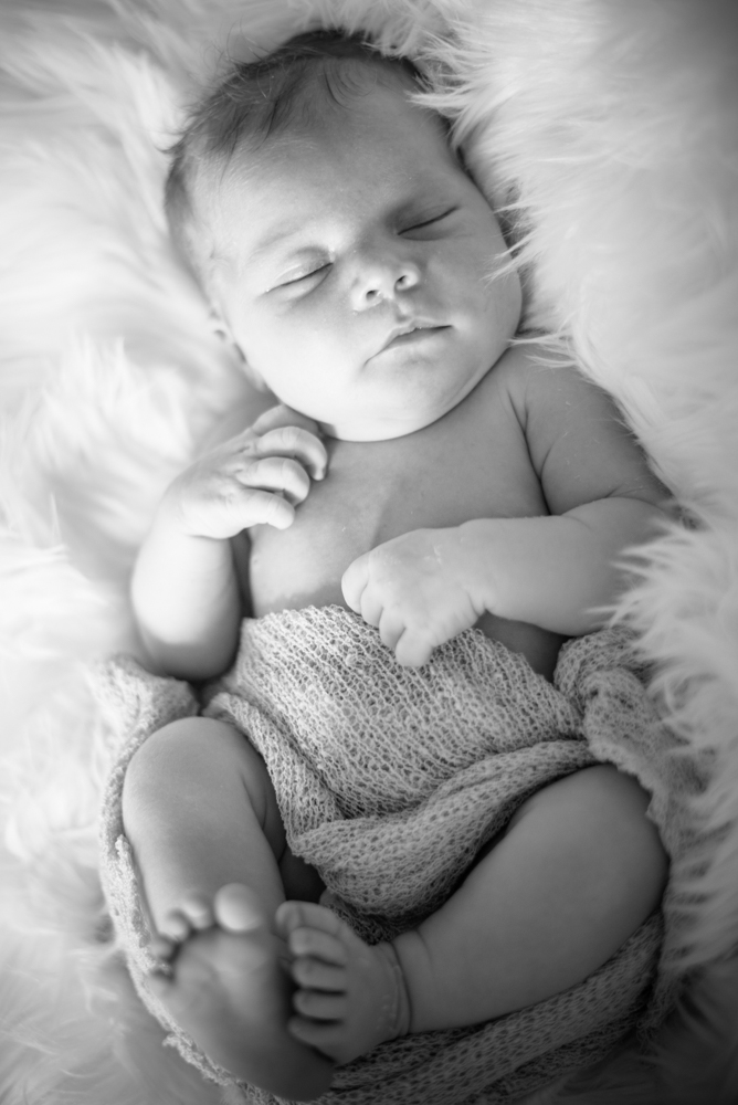 Black and white sleepy baby, newborn photographer Carlisle