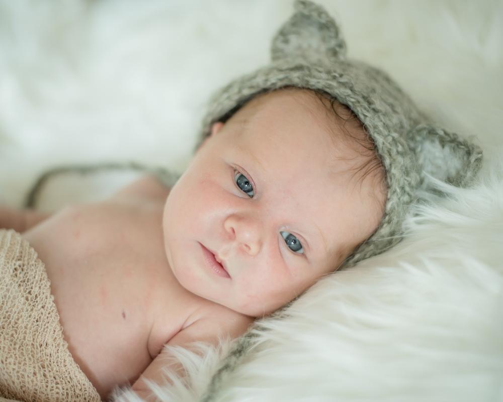 baby in fox hat, newborn photographer Lake District