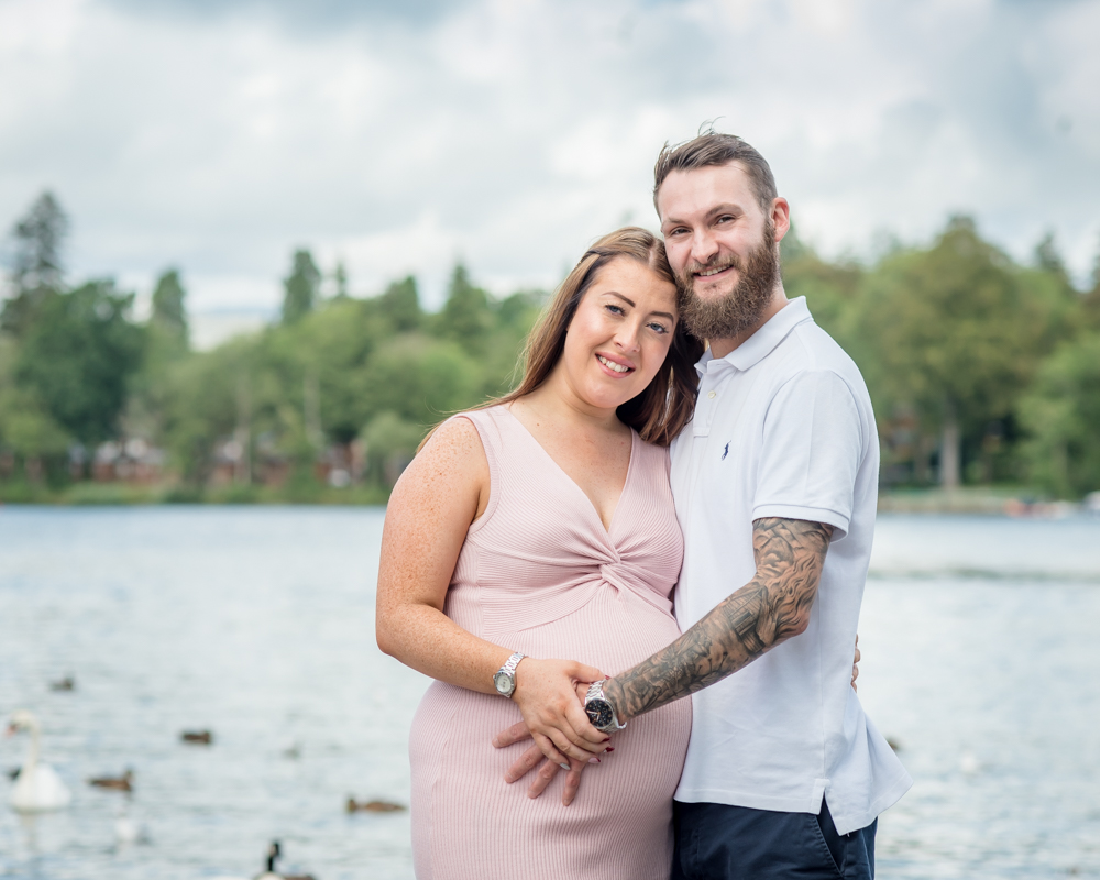 Posing by the lake, maternity photographer Carlisle