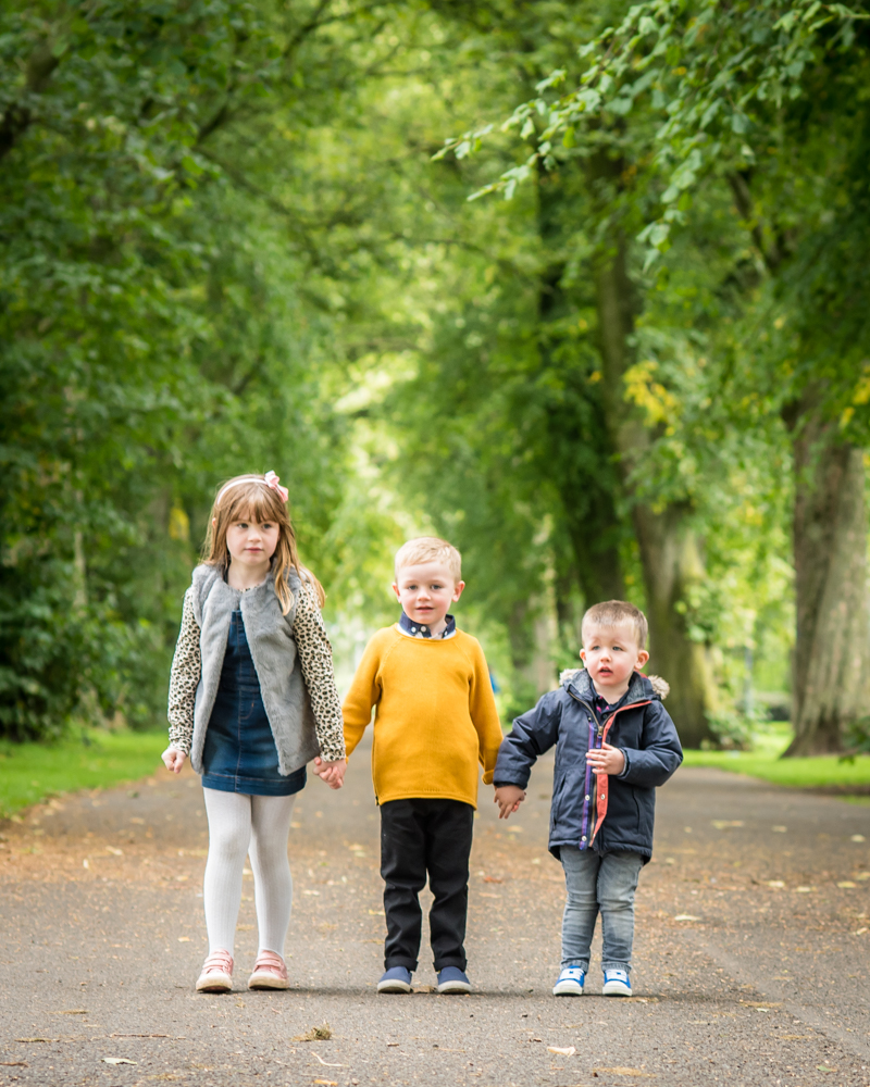Cousins, in Bitts Park, Autumn family portraits Carlisle