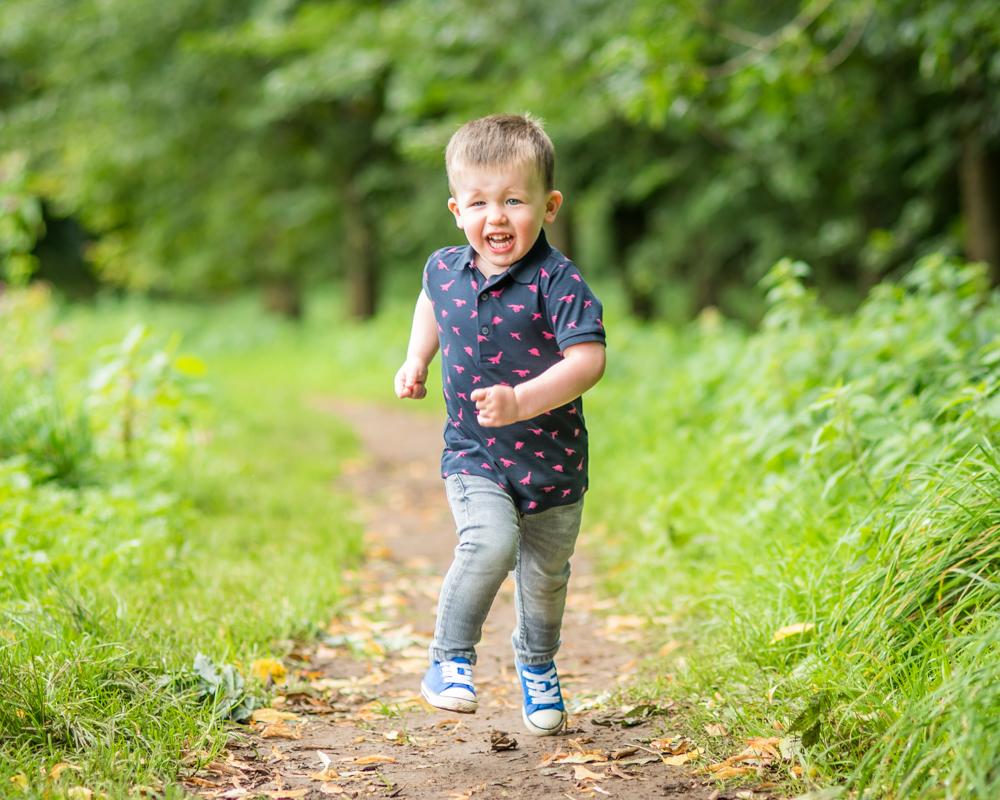 Running Callum, newborn portraits Carlisle