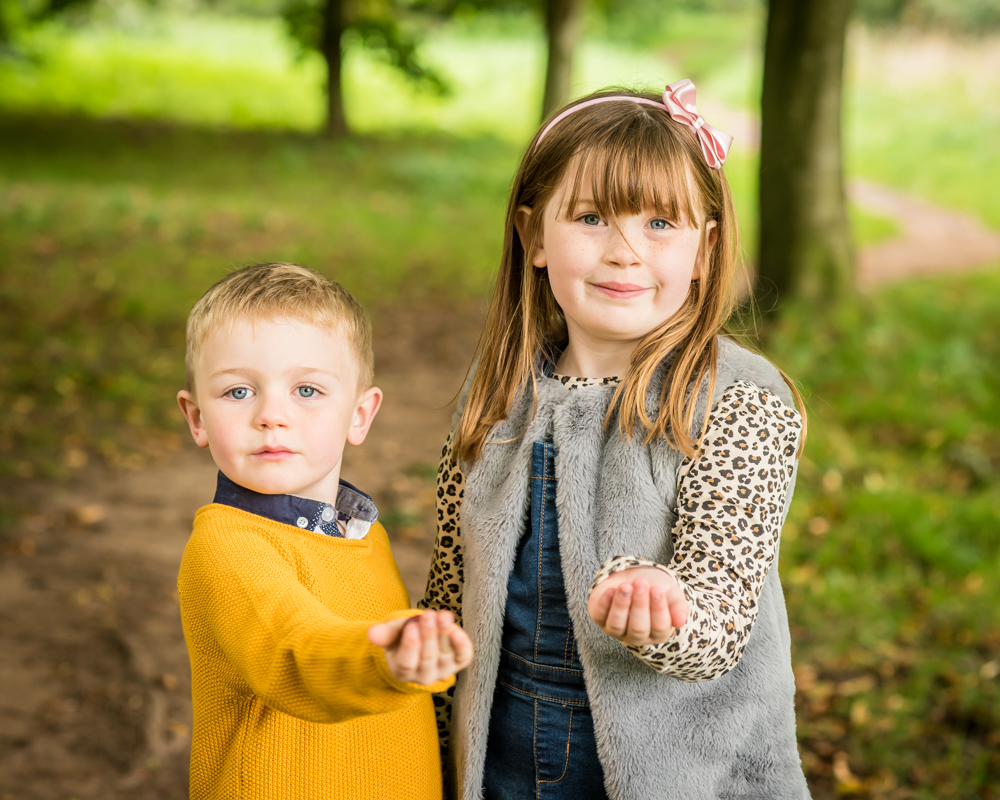 Megan and Oliver with conkers in Bitts Park, Carlisle family photos