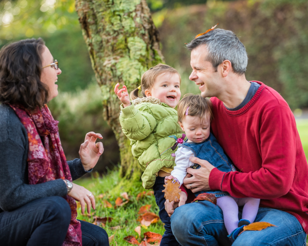 Getting dad with the leaves, newborn portraits Wigton