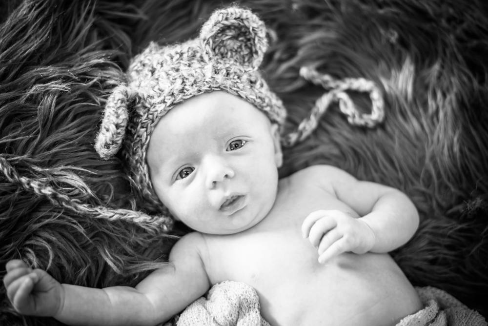 Freddie in hat with ears, baby photographer Cumbria