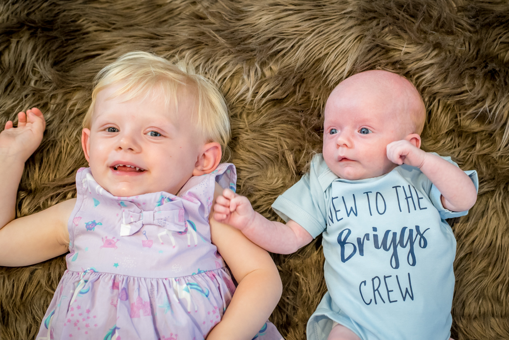 Ivy and Freddie smiling, newborn portraits in Cockermouth