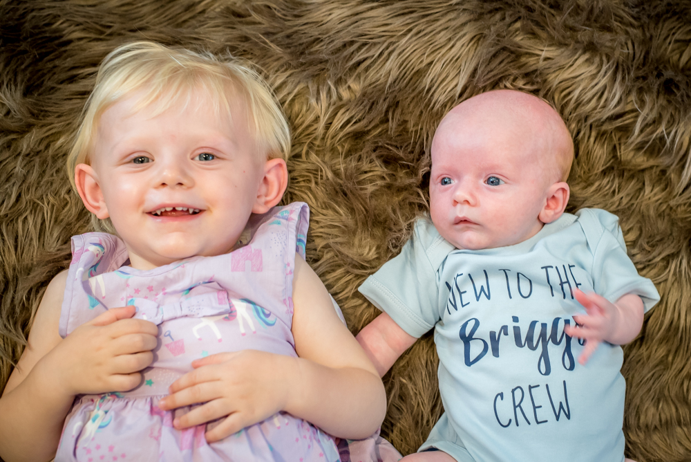 Sister and brother together, Fletchertown baby photographer