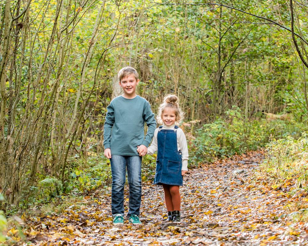 Siblings walking, Great Wood, Lake District family photographers
