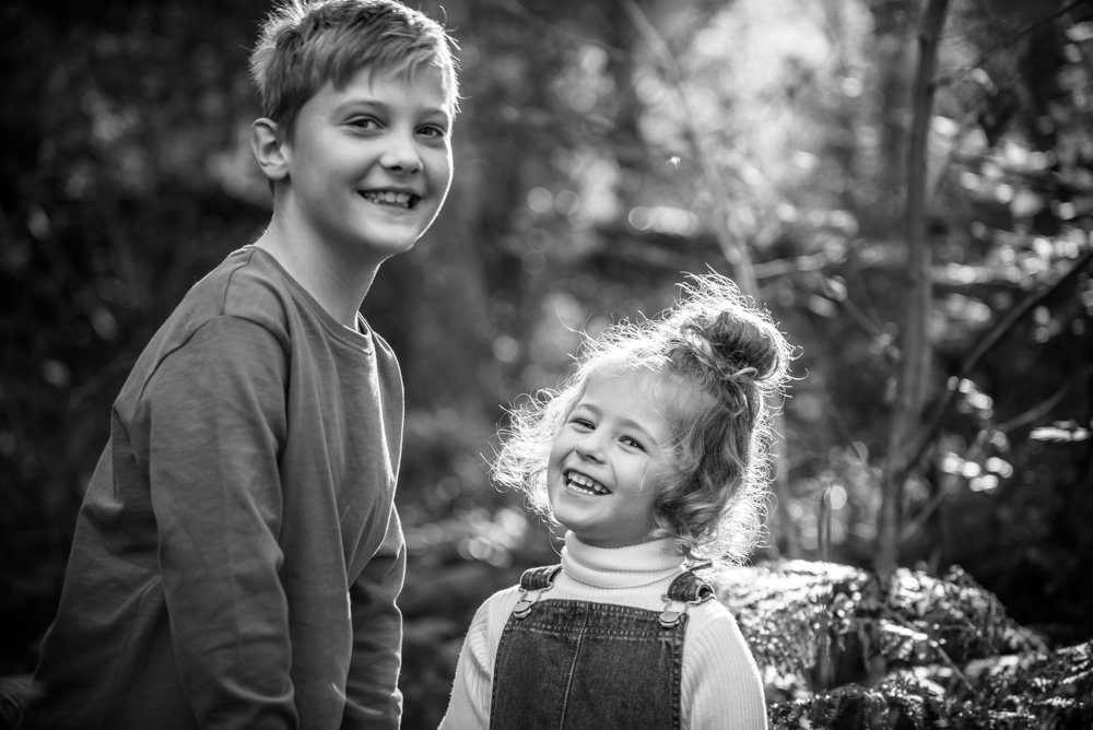 Black and white posing, Lake District family photographers