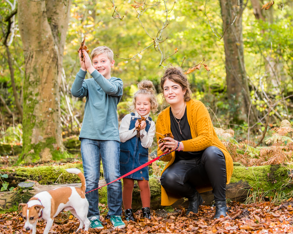 Leaf throwing with family,Lake District family photographers