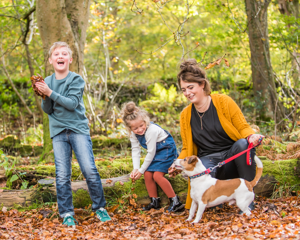 Leaf throwing Lake District family photographers