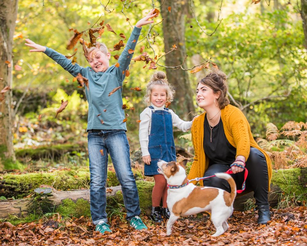 Leaf throwing, Autumn portraits Lake District
