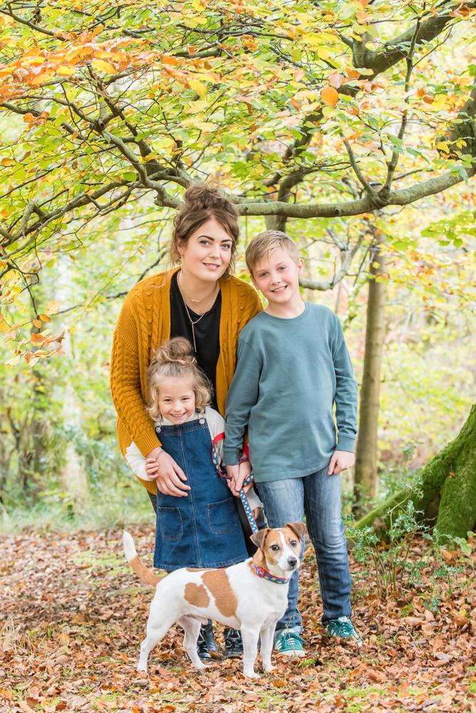 Family photo with dog, Autumn, Lake District family photographers